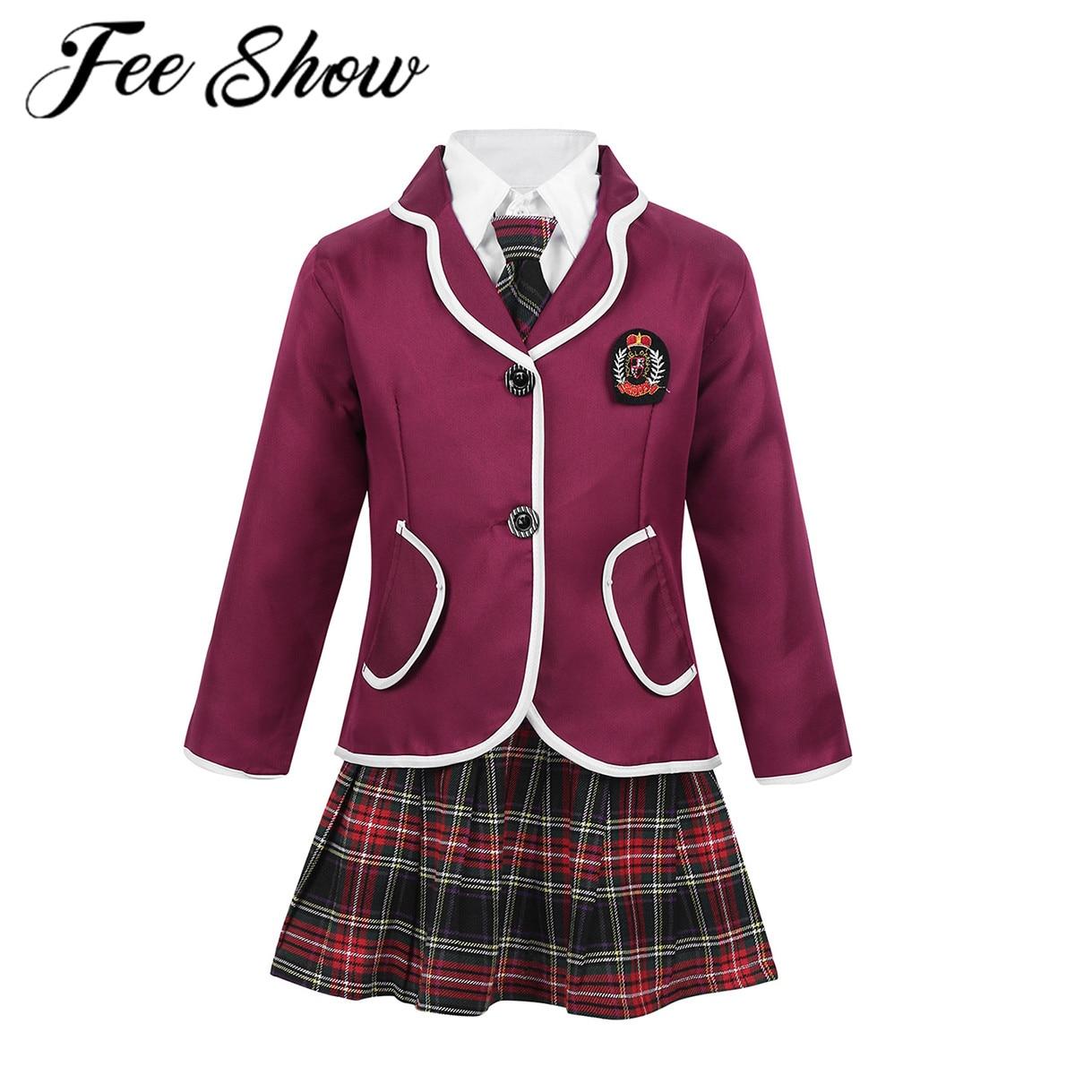 زي مدرسي بريطاني للفتيات الصغيرات ، زي طالب أنيمي ياباني ، بدلة معطف وياقة مقلوبة ، قميص ، ربطة عنق ، تنورة صغيرة