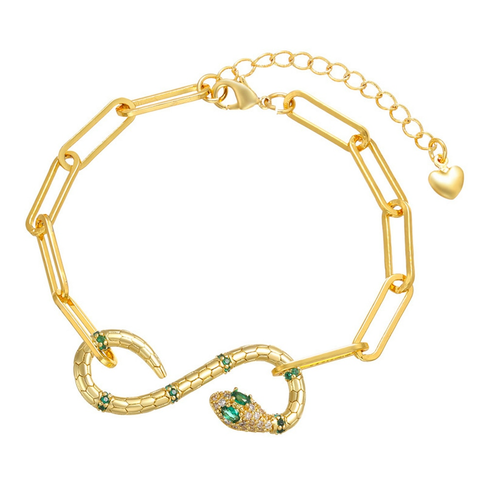Gold Plated Bracelet Jewelry Fashion Snake Bracelet for Women Inlaid with Zircon Gold-chain Top Grad