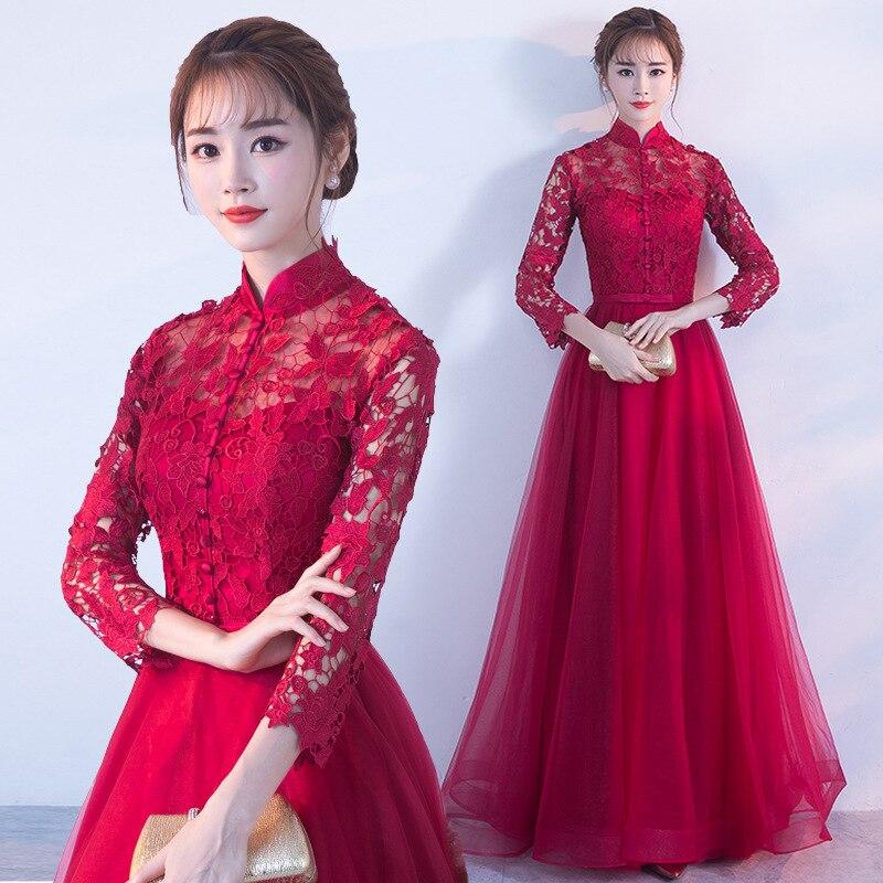 مثير تفريغ الدانتيل شيونغسام الإناث الصينية العروس فستان الزفاف نخب الملابس الكلاسيكية اليوسفي طوق تشيباو المعتاد XXXL