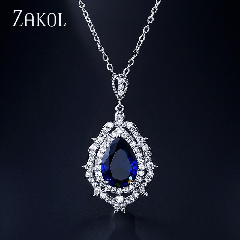 ZAKOL Vintage Big Water Drop Cubic Zirconia Necklaces Pendants for Elegant Women Party Wedding Jewelry FSNP2114