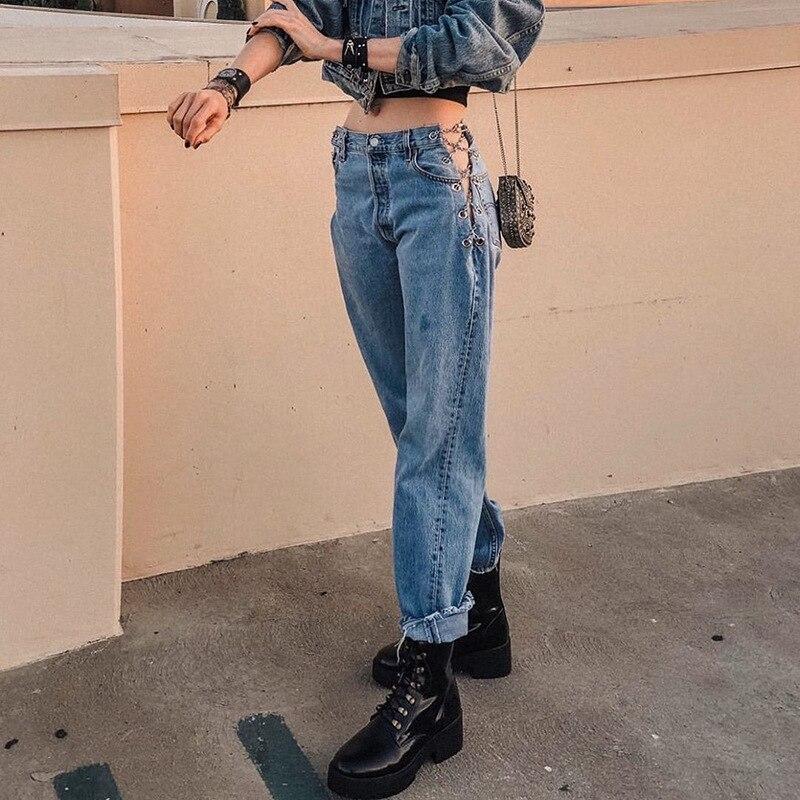 GGBAOFAN موضة سلسلة ارتفاع الخصر جينز بنطال ذو قصة أرجل واسعة النساء الشارع الشهير Harajuku بنطلون طويل فضفاض