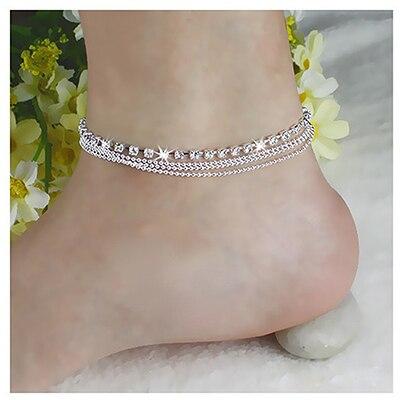 Grânulos de cristal boêmio multicamada corrente tornozeleira senhoras charme pé jóias cadeias perna pulseira moda tornozeleira