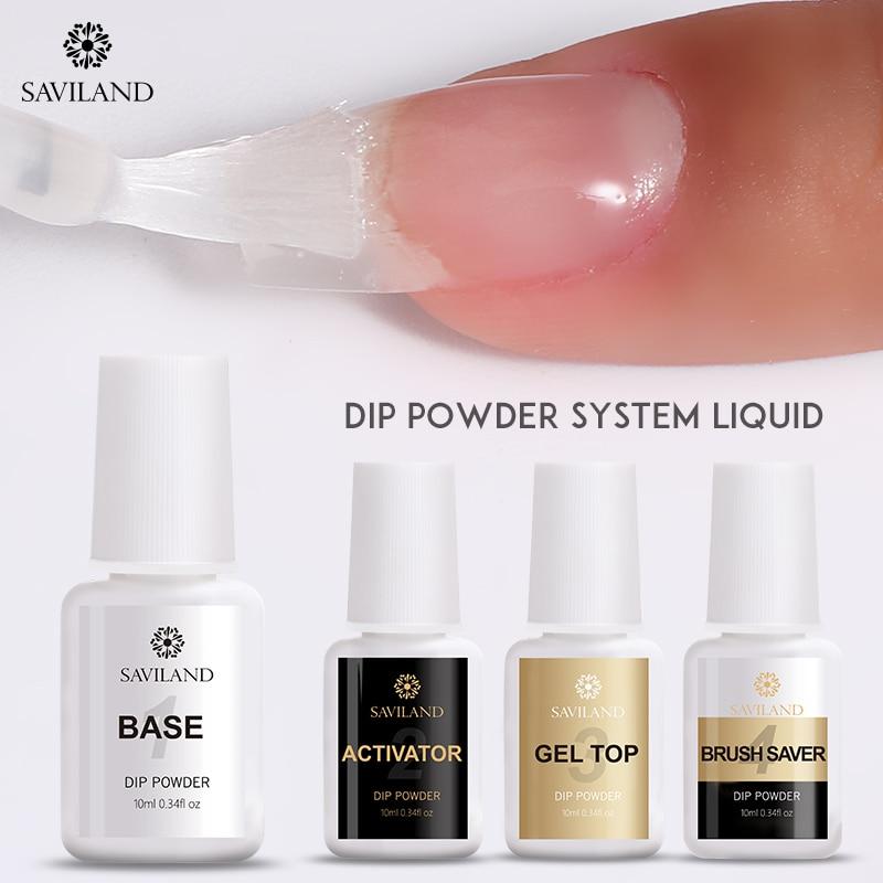 SAVILAND Dipping Nail Powder System Set for Nail Dipping Acrylic Powder Base&Top Gel Coat Activator Saver Without Lamp