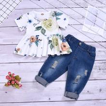 2020 Custom Fashion Summer Kids Girls Clothing Sets 2 pcs White Ruffle T-shirt Pant Set for Girls Clothes 4 Years