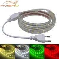 led strip lights smd 5050 led tape ac 220v flexible tape diode waterproof holiday light outdoor garden lighting with eu plug