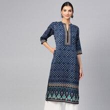Indian Ethnic Blouses India Dress for Women Clothing Kurta Vestido Indiano Kurtha Long Kurti Pakistani Blouse Cotton Stamp