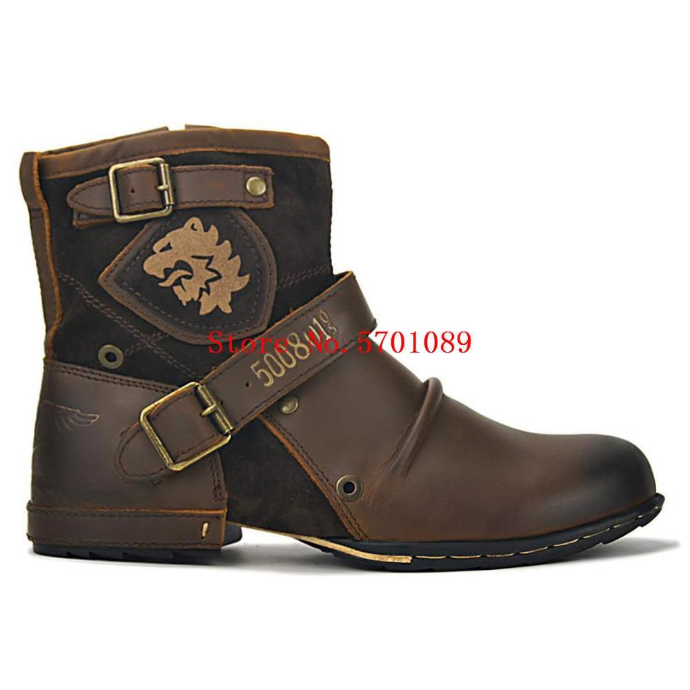Hombre cuero botas Chukka botas de zapatos de cuero zapatos de cremallera Casual bajo botas de vaquero del Western zapatos casuales zapatos