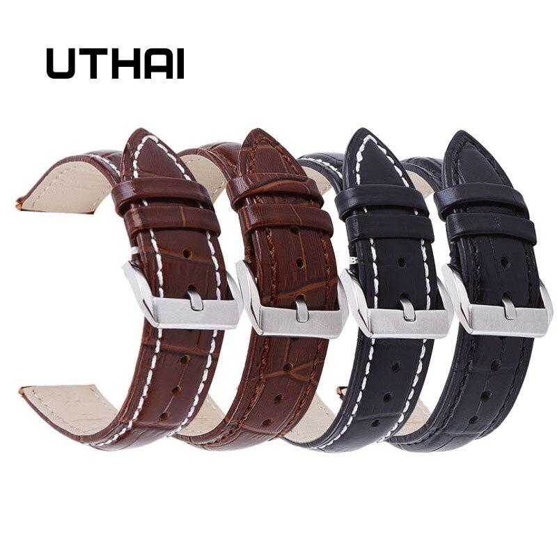 Correa de reloj de cuero UTHAI Z20 con diseño de cocodrilo, correa de 14mm 16mm 18mm 20mm 22mm 24mm, hebilla de Metal plata, cierre para mujer y hombre