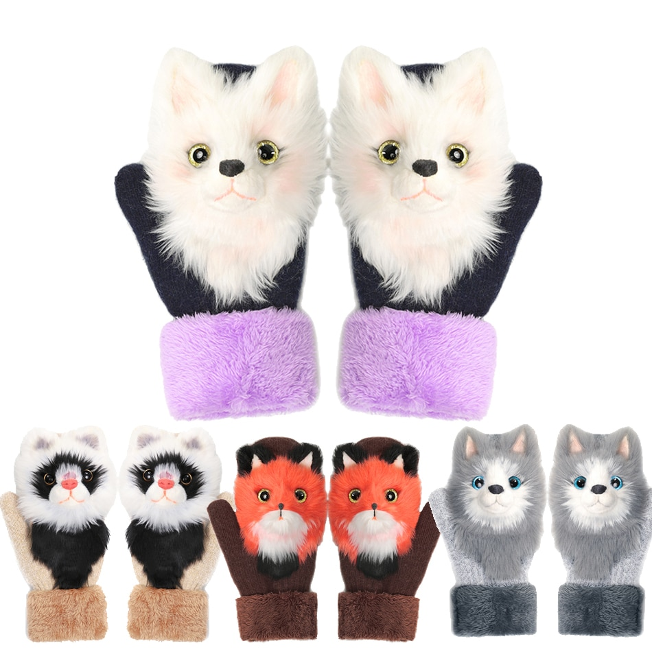 Winter Baby Cartoon Gloves Fox 3D Children Kids Boys Girls Cat Patchwork Color Warm Knitted Cute