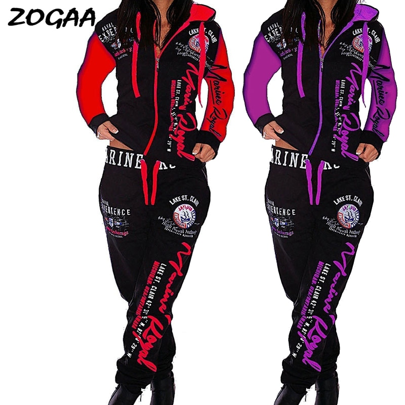 ZOGAA 2020 Women 2PCS Sportwear spring autumn Female Suit Fashion Hooded Joggers Women's Sports Suit Sets womens tracksuit set
