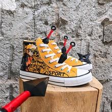 Leinwand Schuhe Männer Cartoon Fuß Junge Und Mädchen Board Schuhe Ins Harajuku Port Stil Student Casual Schuhe Gelb Graffiti Schuhe