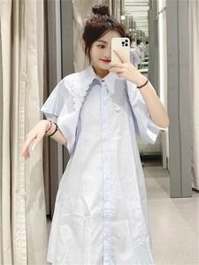 ZA 2021 summer new women's clothing fashion Western style age-reducing Loose Doll collar design poplin wide hem dress for women