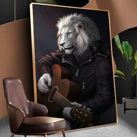 animal print canvas painting wall art playing guitar gentleman lion poster and prints wall art picture for living room decor
