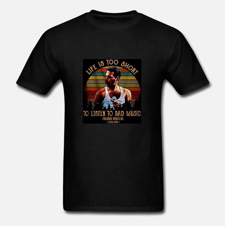 La vida es demasiado corta para escuchar la mala música Freddie Mercury Vintage hombres camiseta