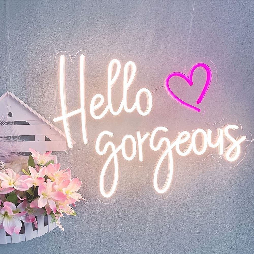 Custom Neon Light Sign Hello Gorgeous For Room Wall For Kids Bedroom Kawaii Room Decor Home Decor Gift Personalized Signs enlarge