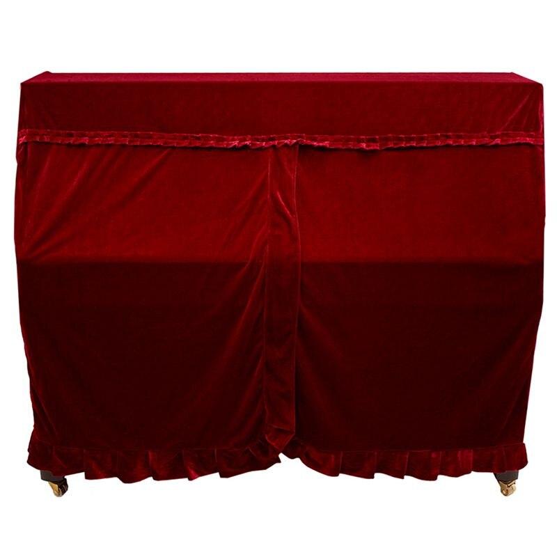 Práctica funda de Piano completa pleuche decorada con macramé para Piano Vertical Universal rojo