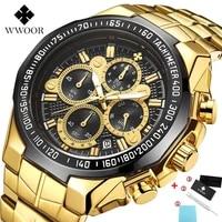 relogio masculino mens watches wwoor top brand luxury fashion sport clock male gold black waterproof chronograph watch men 2020