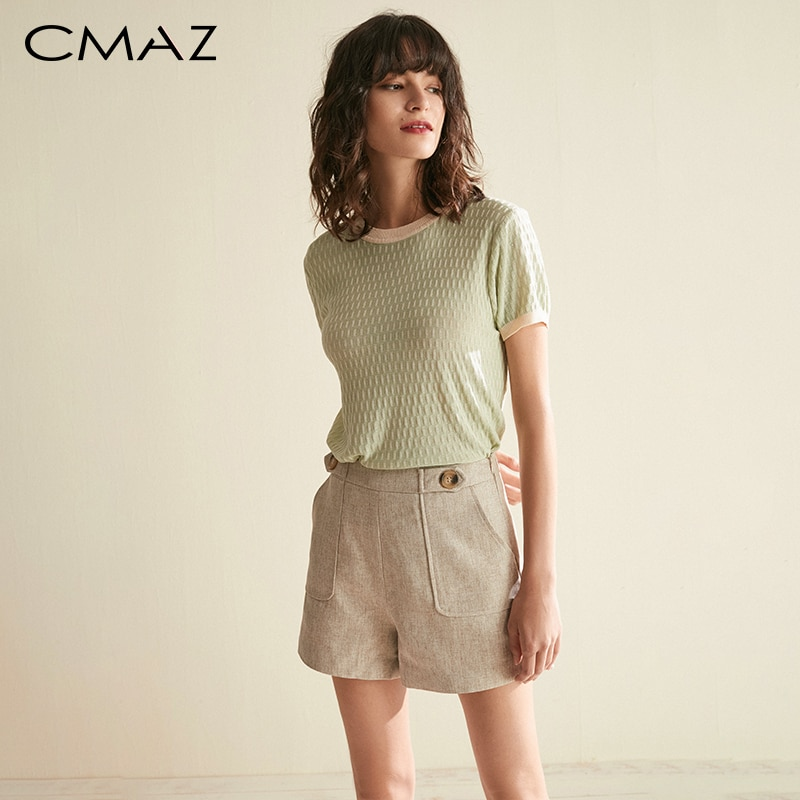 CMAZ 2019 Summer Fashion Causal Breathable Knit Shirt Women Oneck Short Sleeves Comfortable Slim Fit