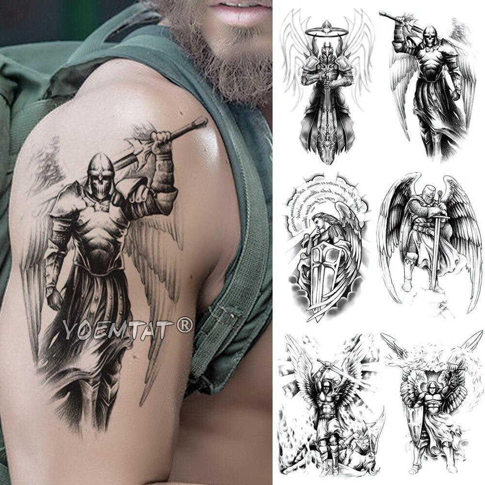 Cráneo vikingo Samurai Guerrero tatuaje temporal pegatina Ares Mars resistente al agua Tatto Hero alas cuerpo arte brazo falso tatuo hombres mujeres