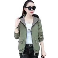 double sided coat female spring autumn 2021 new plus size wild casual double sided wear jacket hooded baseball uniform top 308