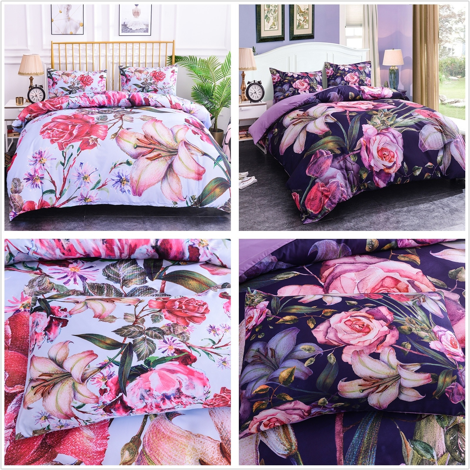 Juegos de cama con estampado Floral en 3D, ropa de cama rosa, funda de edredón morada, fundas de edredón, juego individual/doble/completo/Queen/King Size