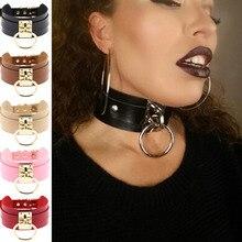 Femmes Halloween Cosplay collier Ketting Collares PU cuir harnais joint torique tour de cou BDSM fétiche cou ceinture esclave cercle anneau