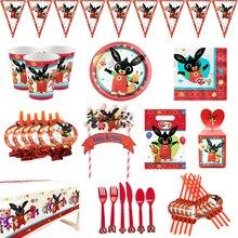 Bing królik dekoracja na imprezy tematyczne zastawa stołowa kubek papierowy serwetki obrus Baby Shower balon materiały urodzinowe dla dzieci
