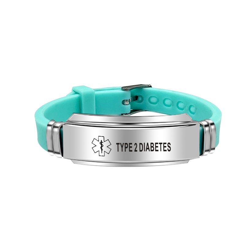 Fashion Green Color Silicone Bracelet Medical Alert ID Type 2 Diabetes ASTHMA Stainless Steel Bracelets Bangles For Women Men