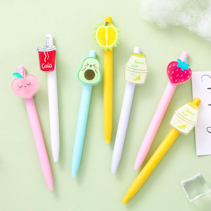 2020 Sharkbang Cute Fruit Milk Press bolígrafo de bola negro Monocerus pluma de escritura papelería escolar niños regalo de cumpleaños