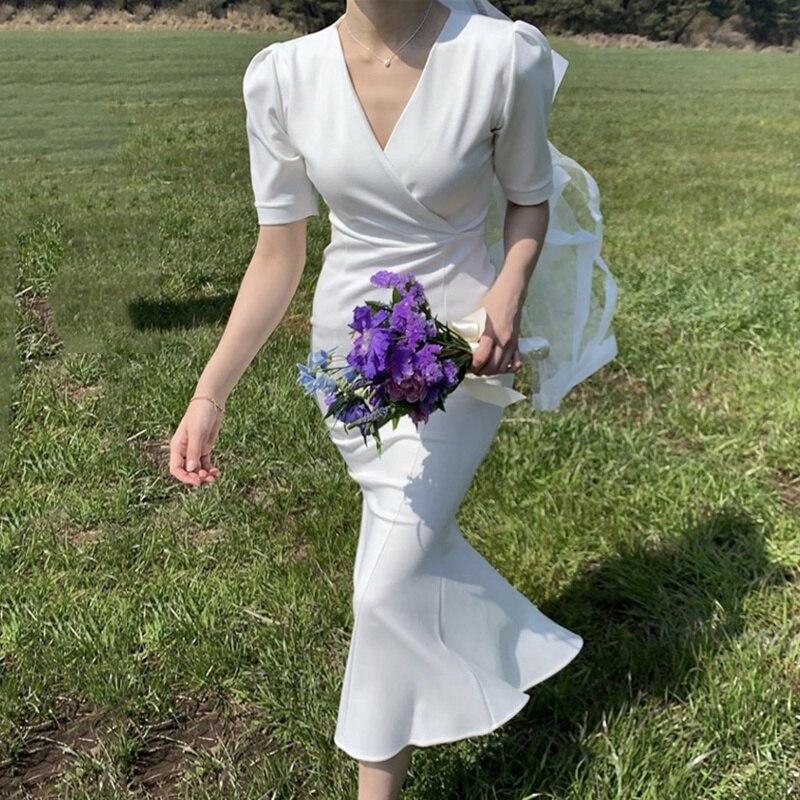 South Korea Party Dress Elegant Thin V-neck Sexy Dress Slim Careful Lace Up Waist Length Fishtail Dr