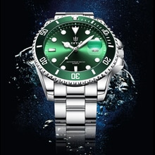 Часы наручные мужские кварцевые из нержавеющей стали, брендовые Роскошные зеленые водонепроницаемые спортивные с датой