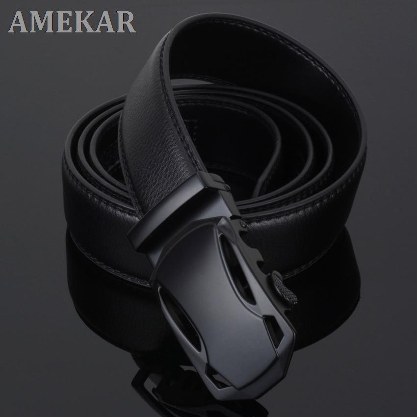 Fashion Brand Cowskin belt Genuine leather men alloy Luxury jaguar business 3.5cm belts for