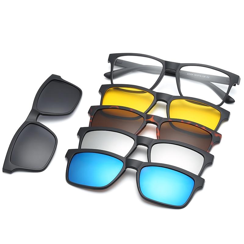 HJYFINO 5 lenes Magnet Sunglasses 클립 선글라스에 미러 클립 안경 클립 남성 편광 클립 맞춤형 처방 근시