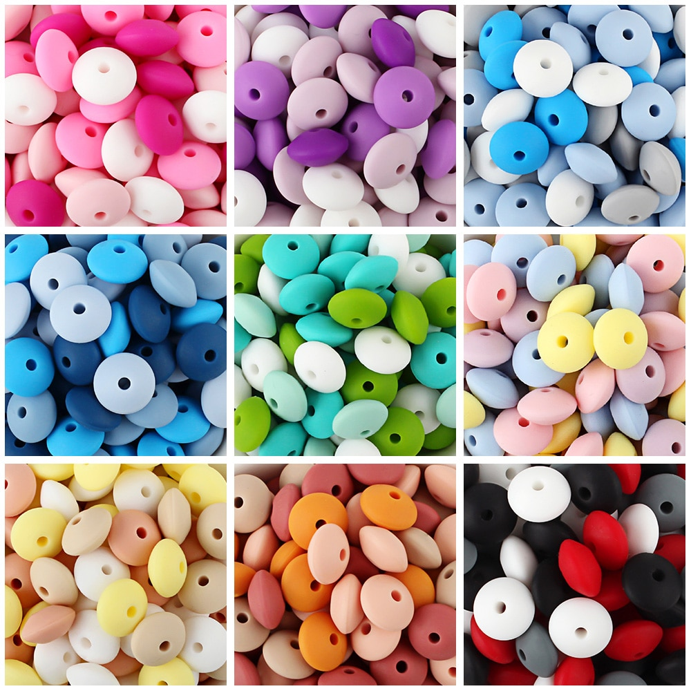Keep&Grow 20Pcs Silicone Beads 12MM Lentil Beads DIY Baby Pacifier Chain Pendant BPA Free Eco-friendly Baby Teether Toys