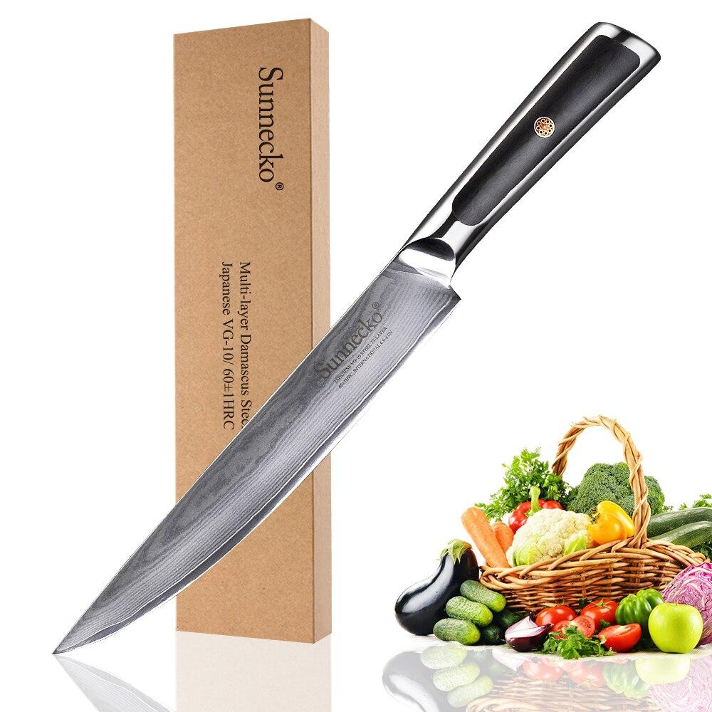 SUNNECKO-سكين تقطيع اللحم الياباني المحترف ، شفرة فولاذية 8 بوصات VG10 ، مقبض G10 ، أدوات تقطيع اللحم والفواكه
