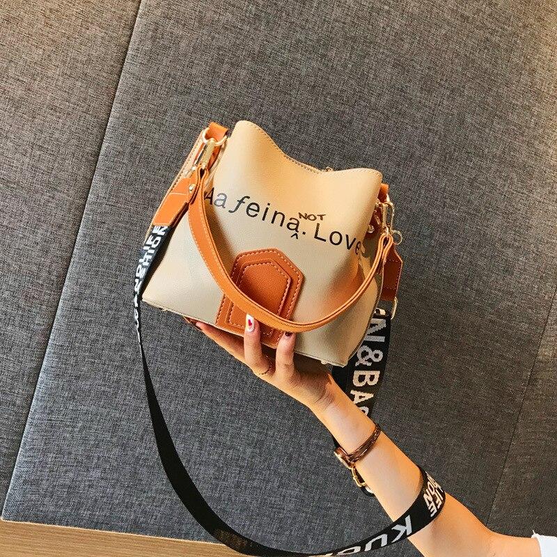 Bag Women's 2021 New Hong Kong Wind Wide Shoulder Strap Bucket Korean Version of Contrast Letters Sh
