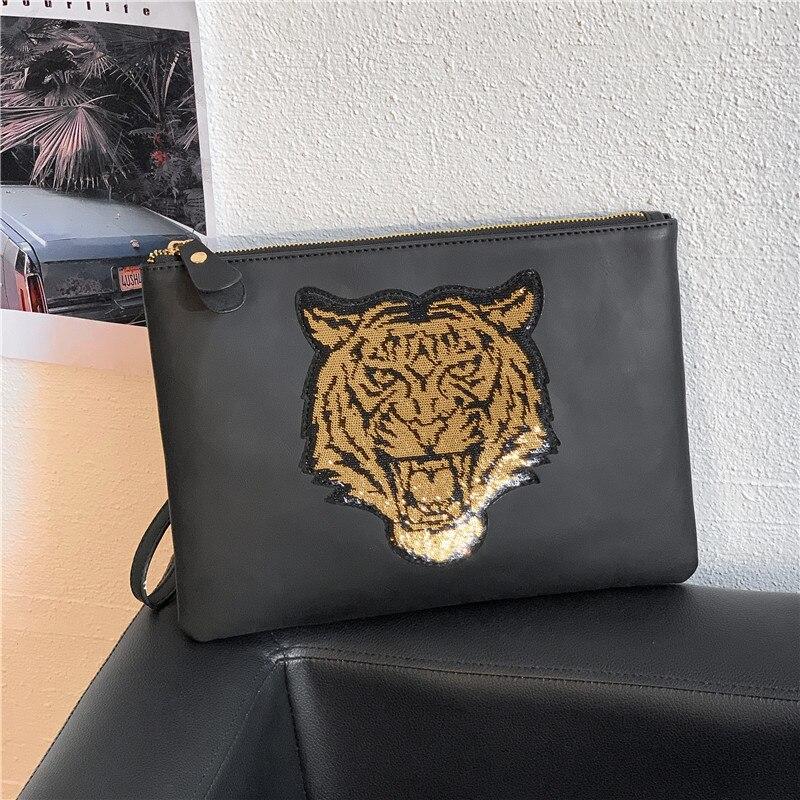 Bolso de mano de diseador para hombre, cartera masculina de lujo, de cuero, con cremallera, estampado Animal, informal недорого