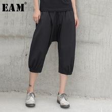 [EAM] taille haute élastique noir slip mollet-longueur pantalon nouveau pantalon coupe ample femmes mode marée printemps été 2020 JW542