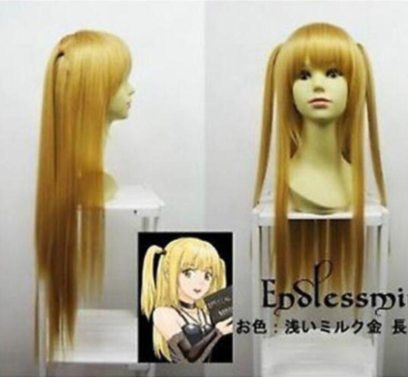 Доставка тетрадь смерти Amane Misa блондинка длинные маскарадный парик для вечеринки модные 80 см парик COS волос