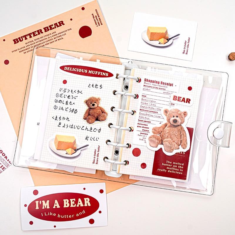 30 pçs adesivo de papel kawaii + 2 pçs cartão de decoração + 1 folha adesivo adesivos estilo ins gourmet animais adesivos scrapbooking
