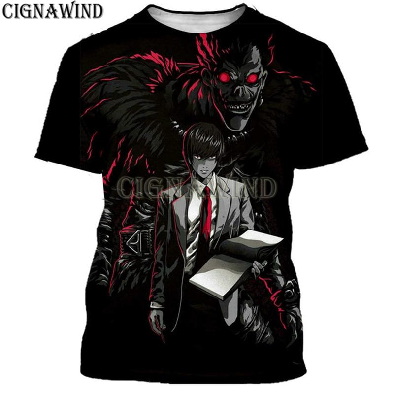 Moda legal t camisa masculina/feminina anime clássico death note 3d impresso camiseta casual harajuku estilo tshirt streetwear topos
