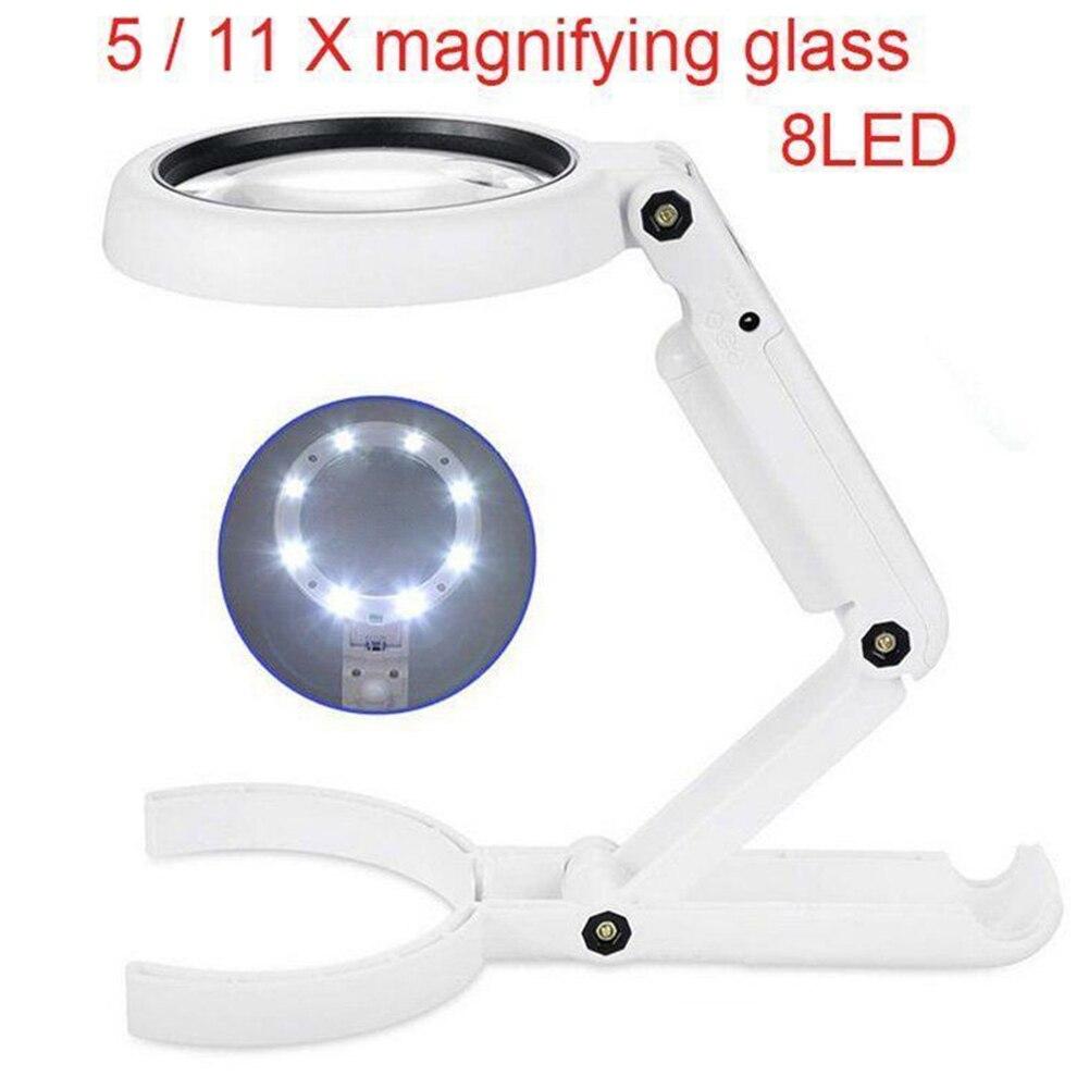 5/11X lupa de cristal antideslizante lámpara de mesa de mano 8 LED soporte de luz de reparación lupa Simple para identificar joyería antigua
