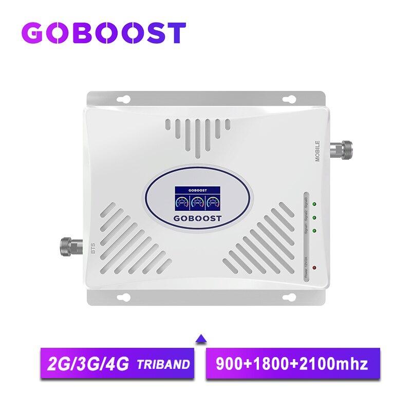 goboost tri band 2g 3g 4g amplificador de reforco de sinal 900 1800 2100 repetidor