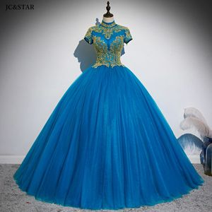 plus Ball Gown prom dress long high neck tulle gold crystal short sleeve turquoise burgundy gold evening gowns robe de soiree