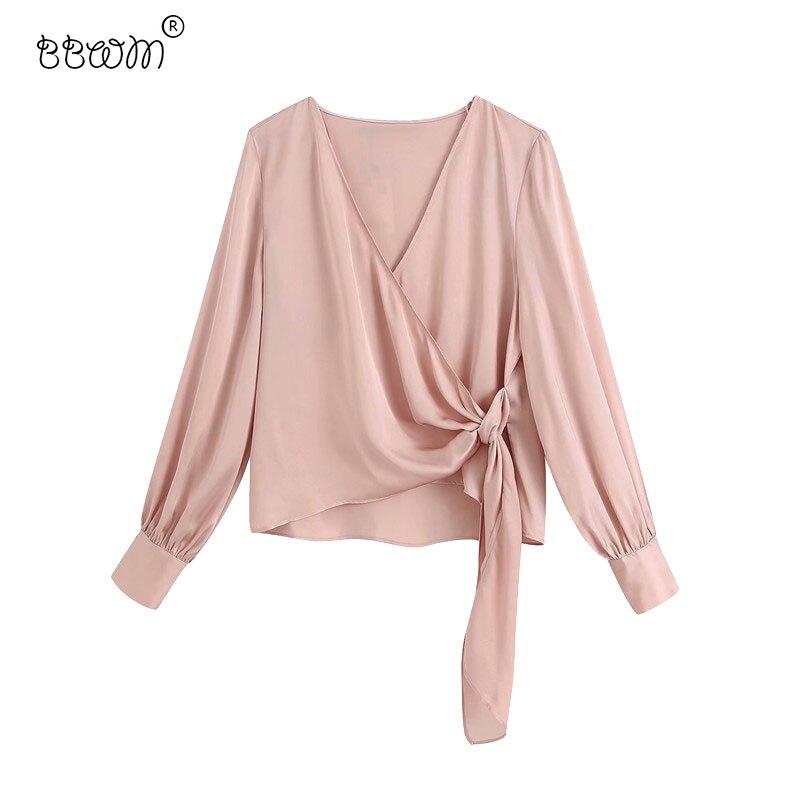 2020 mujeres con estilo lado pajarita de satén Crossover Wrap blusas Vintage V cuello de manga larga Camisas Mujer Chic Tops
