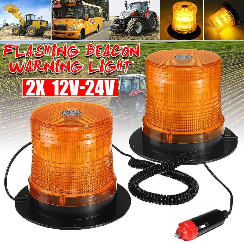 2/4 Uds. Luces estroboscópicas LED magnéticas de 12V 24V luces estroboscópicas de 16LEDs luz ámbar de advertencia de emergencia giratoria para autobús Tractor remolque