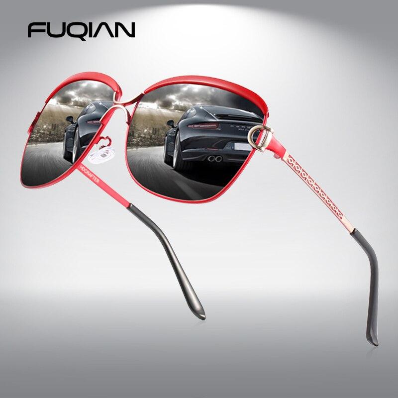 FUQIAN الفاخرة المتضخم الاستقطاب النظارات الشمسية النساء 2020 المعادن الكبيرة السيدات نظارات شمسية خمر مكافحة وهج القيادة نظارات UV400