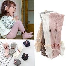 Pantimedias de algodón para niños y niñas, medias de punto con lazo, de 0 a 8 años, para primavera, Otoño e Invierno