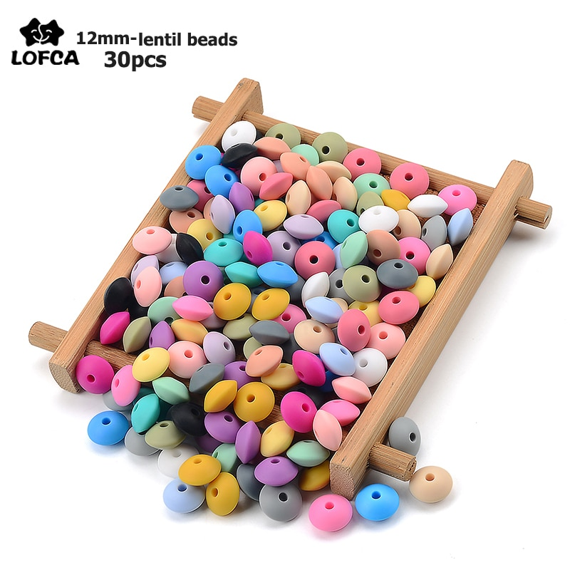 LOFCA 30pcs Silicone Lentil Beads 12mm Baby Teething Beads BPA Free DIY For Baby Toys Silicone Jewel