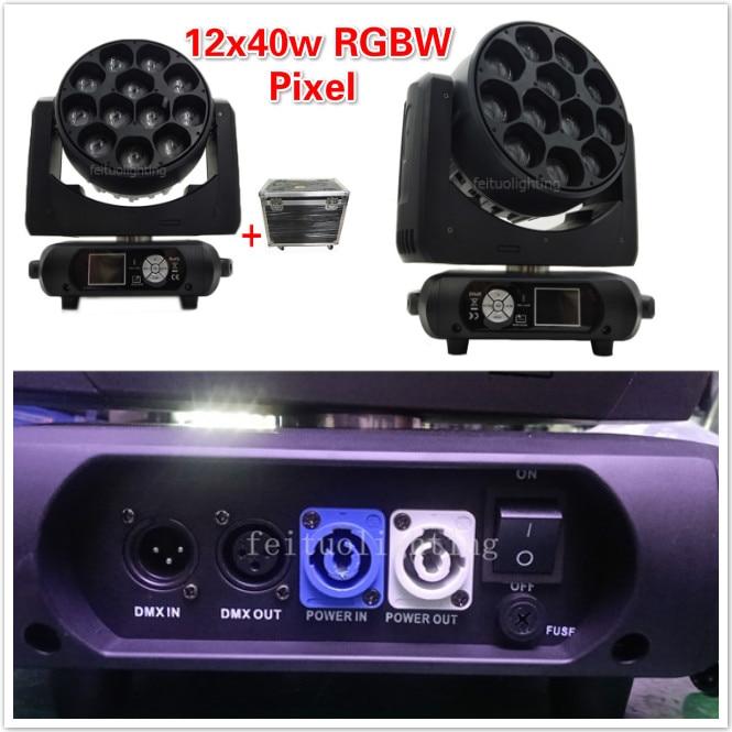 E-2/lote con funda Guangzhou pixel 12x40w led zoom wash beam cabezal móvil dmx Luz de escenario